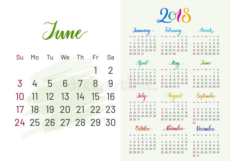 Planificador colorido, 2018, junio por separado ilustración del vector