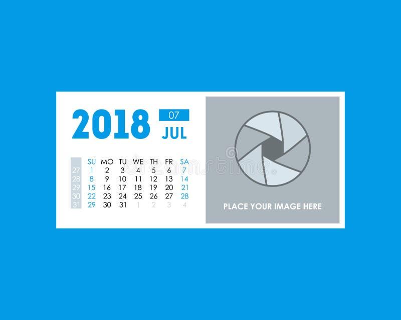 Planificador de eventos el 2018 del calendario de la historieta de julio Vector libre illustration