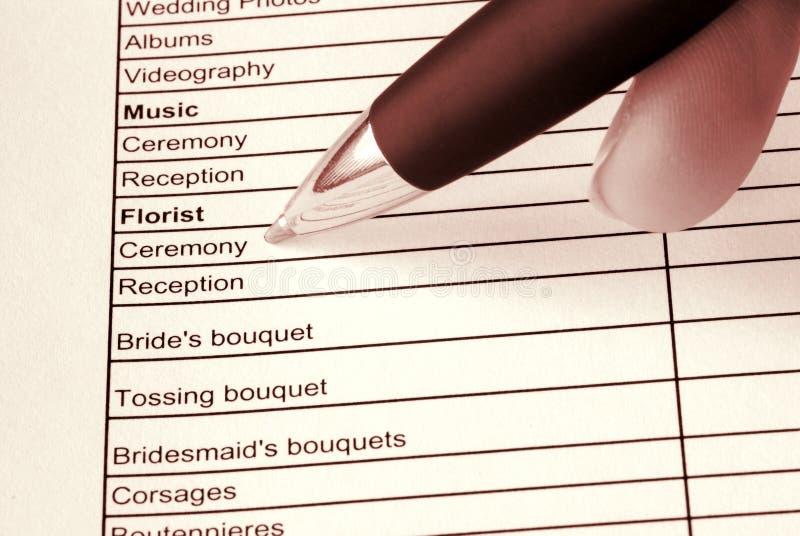 Planificador de la boda imágenes de archivo libres de regalías