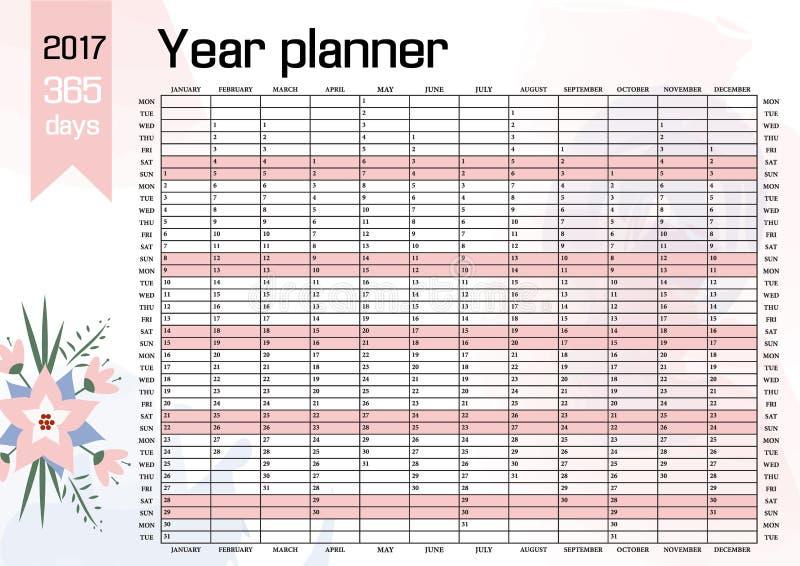 Planificador de la pared del año Plan hacia fuera su entero con este 2017 Plantilla anual del calendario Diseño del vector libre illustration