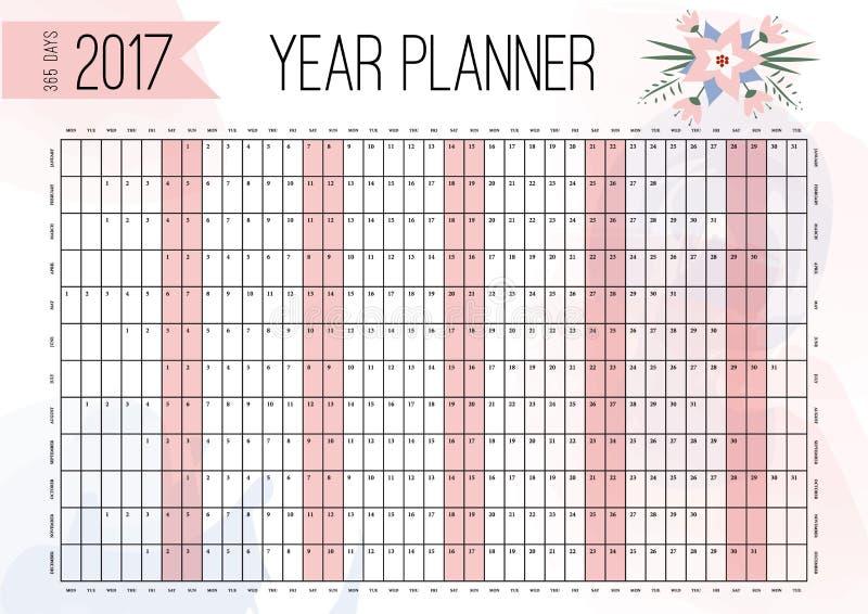 Planificador de la pared del año Planee hacia fuera su año entero con este planificador del año de 2017 paredes ilustración del vector