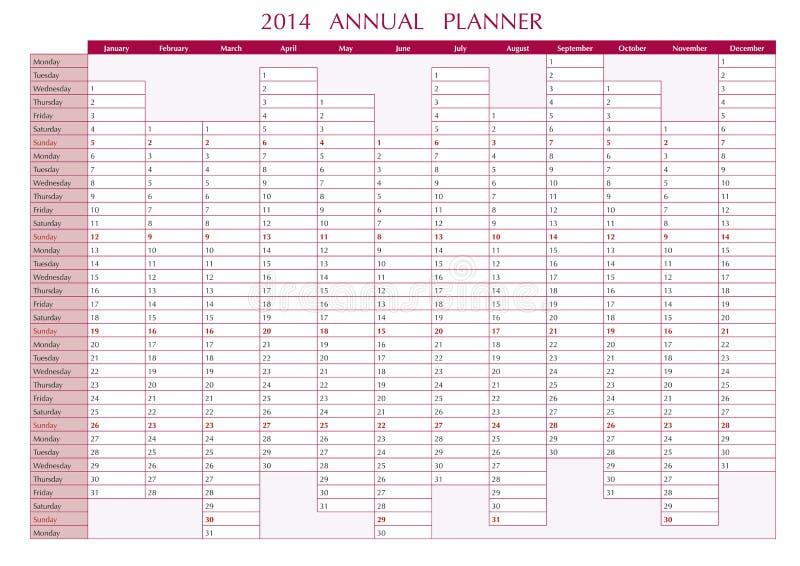 Planificador De 2014 Publicaciones Anuales Ilustración del Vector ...