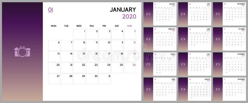 Planificador del calendario 2020, diseño bajo de la plantilla Comienzo de la semana el lunes libre illustration