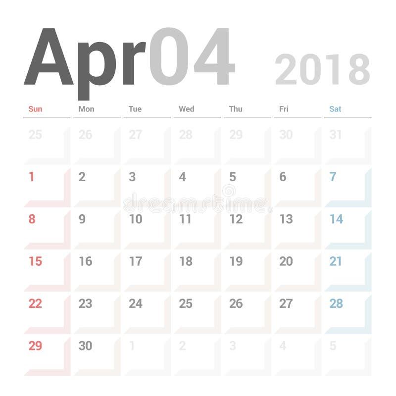 Planificador del calendario para la plantilla del diseño del vector de abril de 2018 inmóvil La semana comienza domingo stock de ilustración