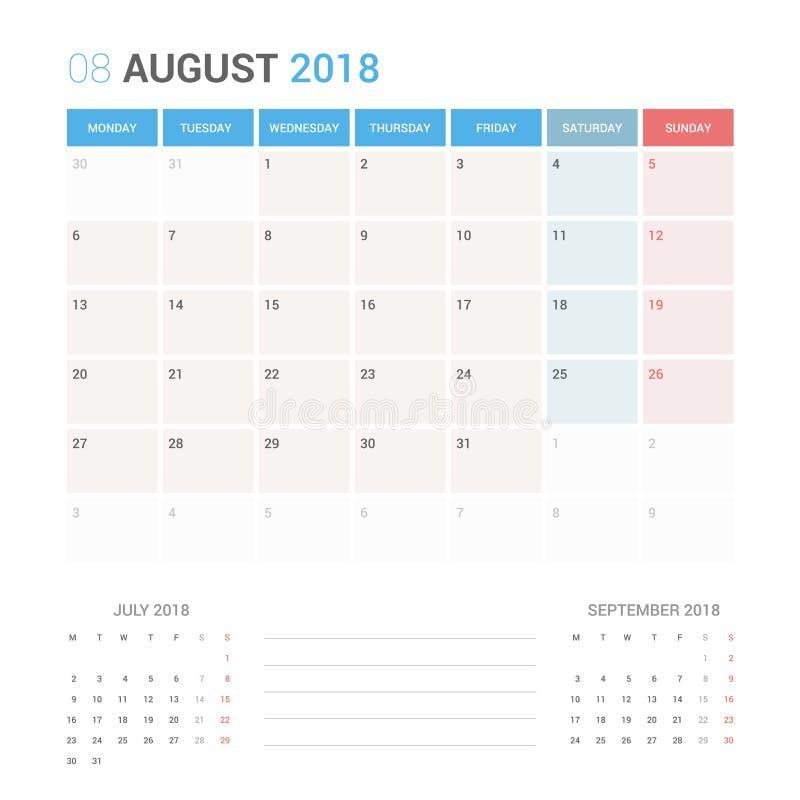 Planificador del calendario para la plantilla del diseño del vector de agosto de 2018 inmóvil La semana comienza lunes ilustración del vector