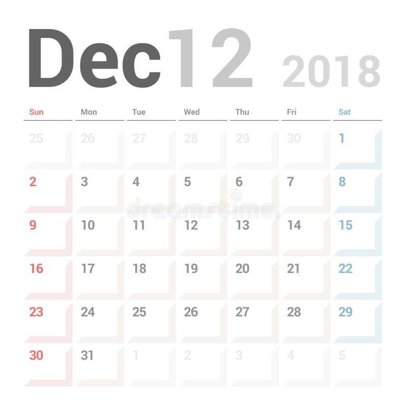 Planificador del calendario para la plantilla del diseño del vector de diciembre de 2018 inmóvil La semana comienza domingo ilustración del vector
