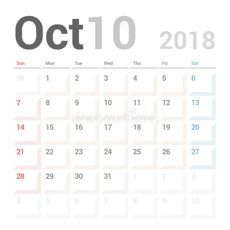 Planificador del calendario para la plantilla del diseño del vector de octubre de 2018 inmóvil La semana comienza domingo libre illustration