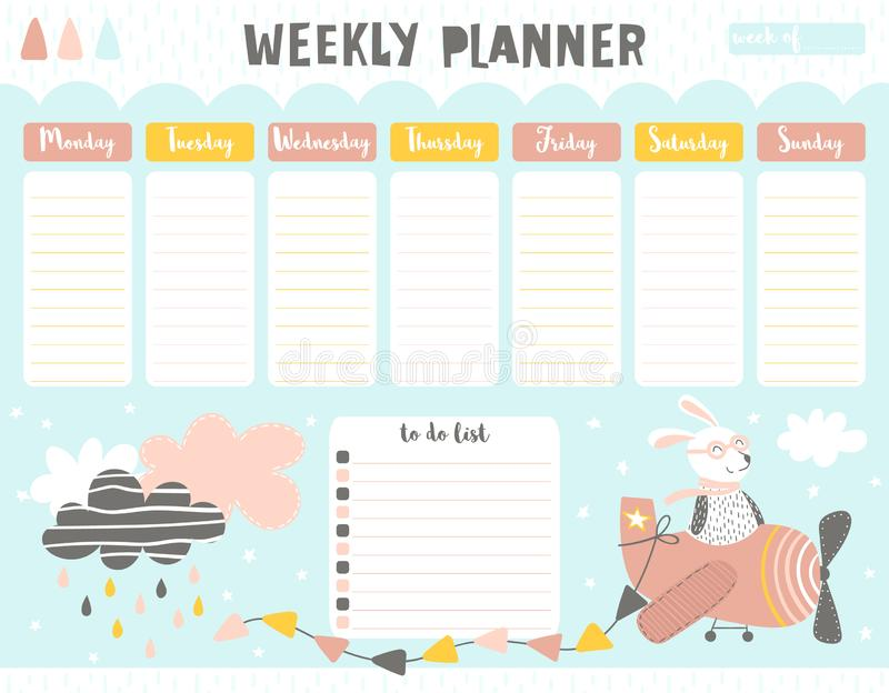 Planificador del calendario semanal con el piloto de las liebres stock de ilustración