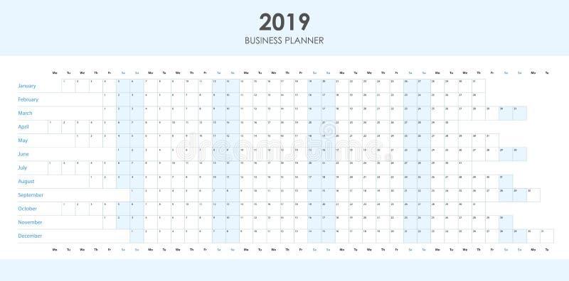 Planificador del negocio para 2019 libre illustration