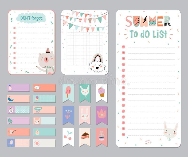 Planificador diario y semanal del calendario lindo libre illustration