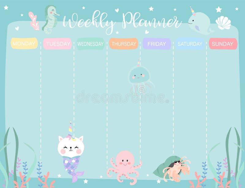 Planificador en colores pastel del calendario semanal con la pequeña sirena, caticorn, squi ilustración del vector