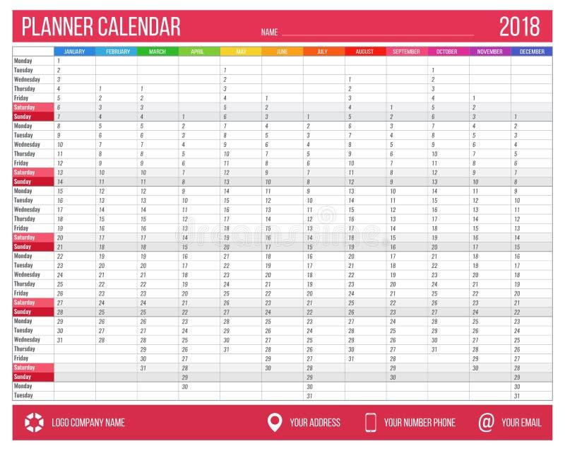 Planificador Inglés Del Calendario Por El Año 2018 12 Meses ...