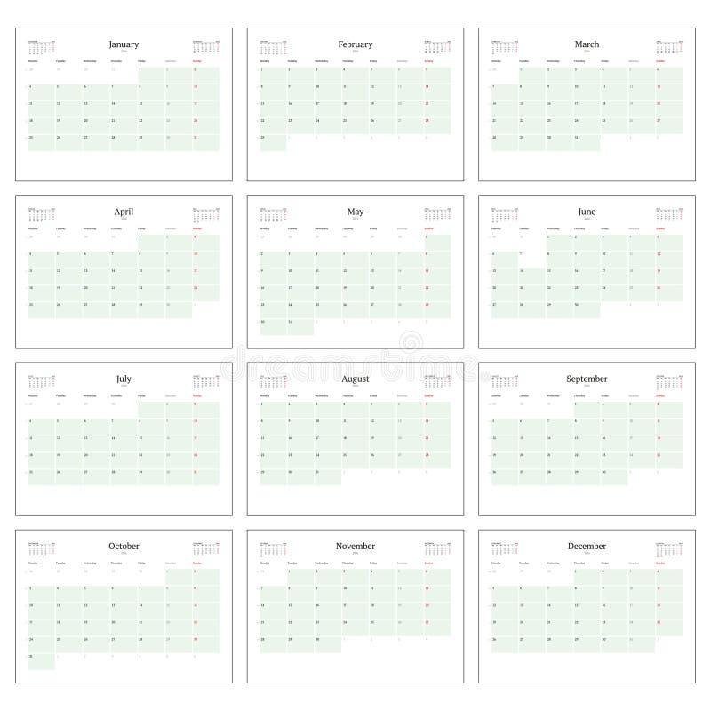 Planificador mensual del calendario para 2016 Sistema de la plantilla de la impresión de 12 meses La semana comienza lunes ilustración del vector