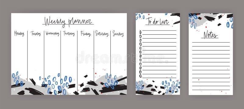 Planificador semanal con días laborables, hoja para las notas y hacer las plantillas de la lista adornadas con la pintura azul y  ilustración del vector