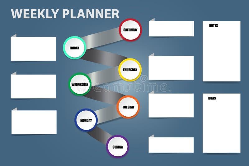 Planificador semanal del vector del espiral del metal stock de ilustración