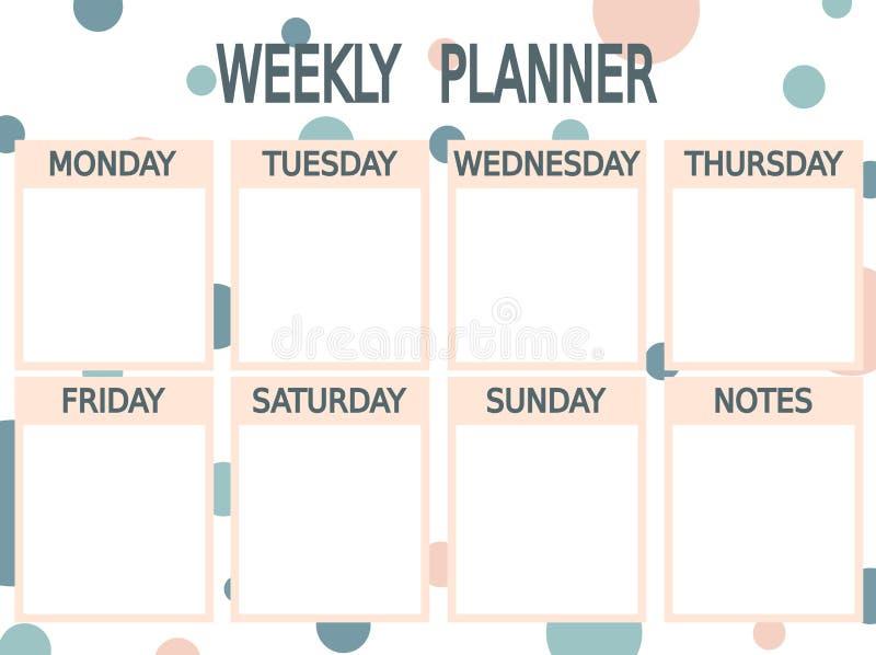 Planificador semanal imprimible rosado azul lindo con los círculos stock de ilustración