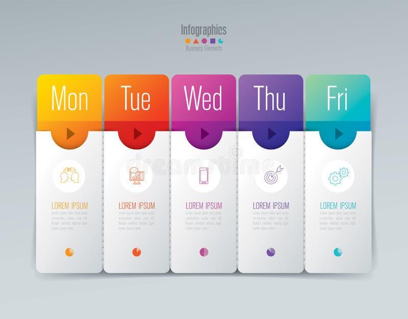 Planificador semanal lunes - diseño del infographics de viernes ilustración del vector