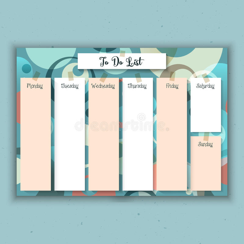 Planificador semanal retro stock de ilustración