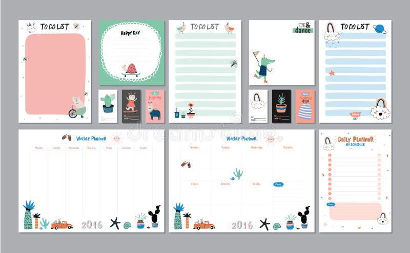 Planificador semanal y diario escandinavo stock de ilustración