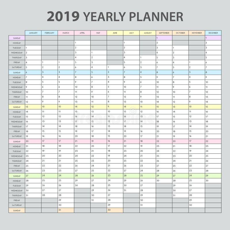 Planificateur annuel 2019 illustration libre de droits