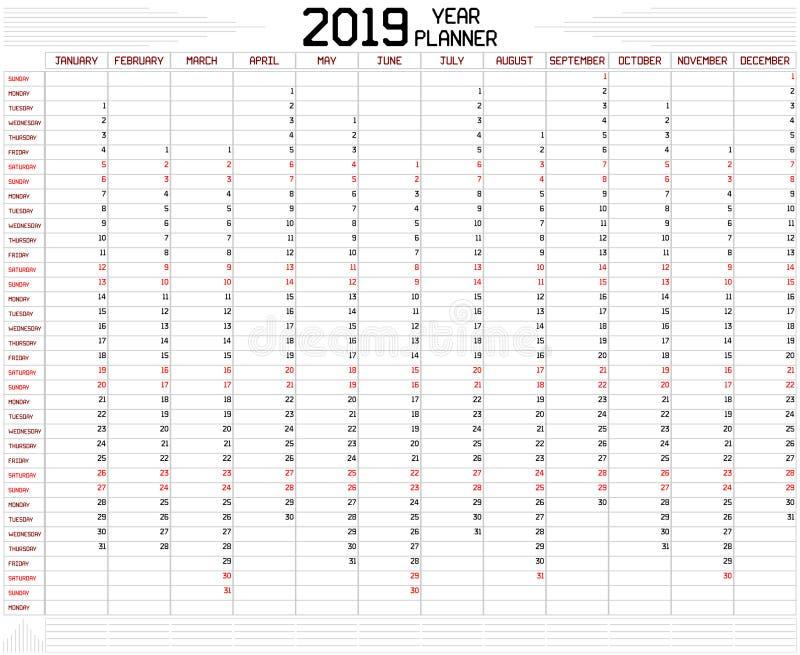Planificateur 2019 d'année illustration stock