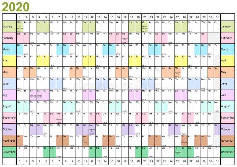 Planificateur d'année 2020 Etats-Unis linéaires dans différentes couleurs illustration libre de droits