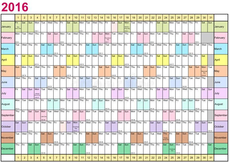Planificateur 2016 d'année linéaire chaque mois dans différentes couleurs illustration de vecteur