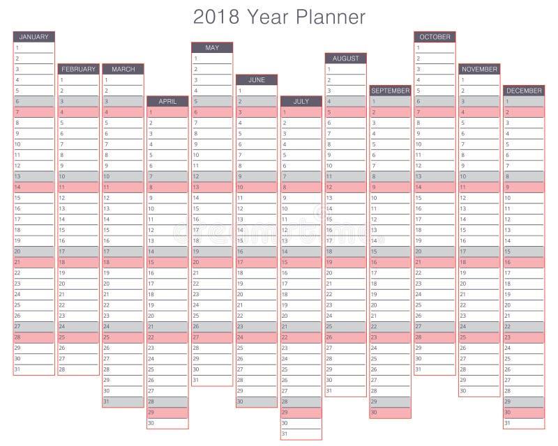 planificateur de 2018 ans illustration de vecteur