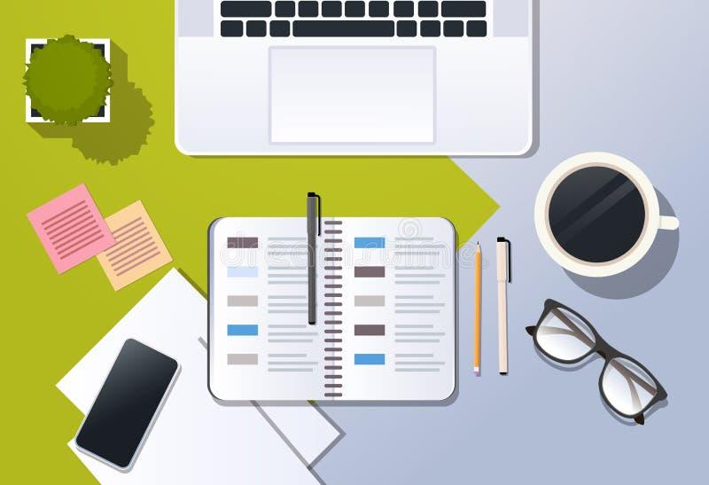 Planificateur de bureau d'entreprise d'organisateur de smartphone d'ordinateur portable de vue d'angle supérieur de gestion du te illustration de vecteur