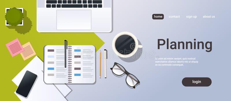 Planificateur de bureau d'entreprise d'organisateur de smartphone d'ordinateur portable de vue d'angle supérieur de gestion du te illustration libre de droits