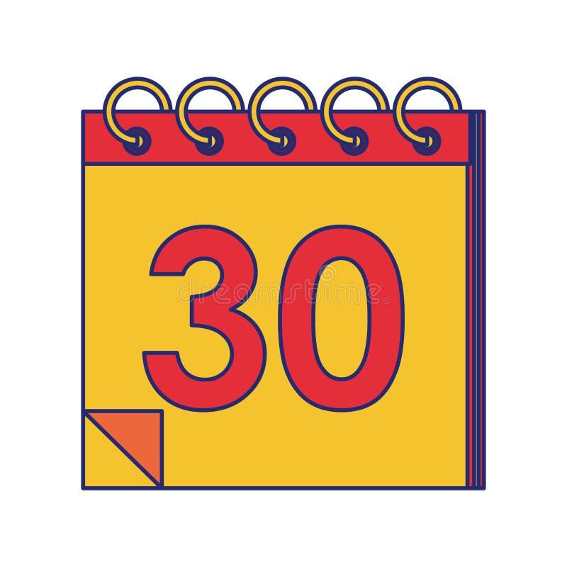 Planificateur de calendrier avec les lignes bleues de trente jours illustration de vecteur