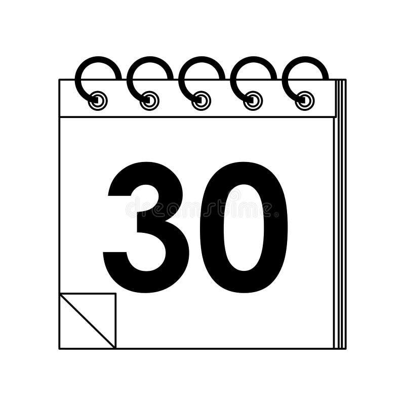 Planificateur de calendrier avec de trente jours en noir et blanc illustration de vecteur