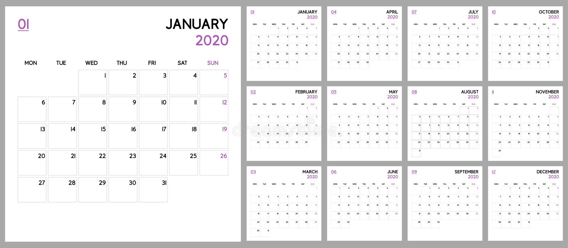 Planificateur de calendrier 2020, conception basse de calibre D?buts de semaine lundi illustration libre de droits