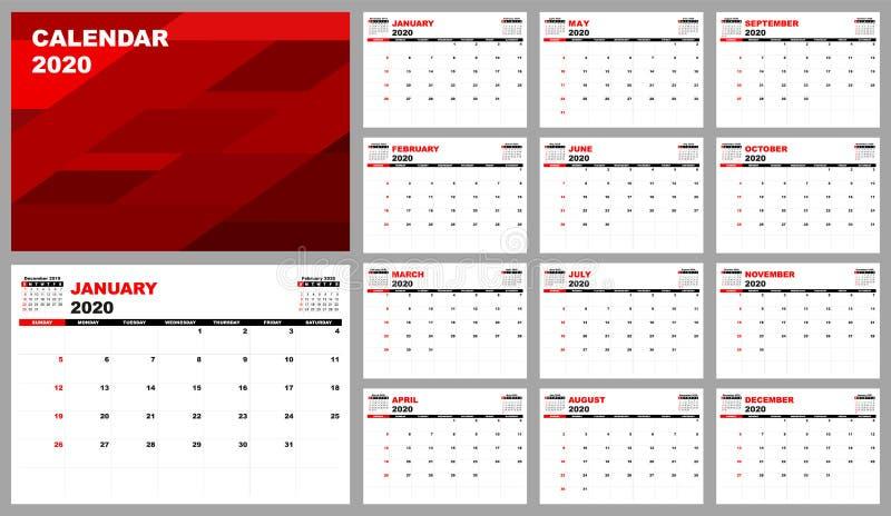 Planificateur de calendrier 2020, conception réglée de calibre de calendrier de bureau D?buts de semaine dimanche illustration de vecteur
