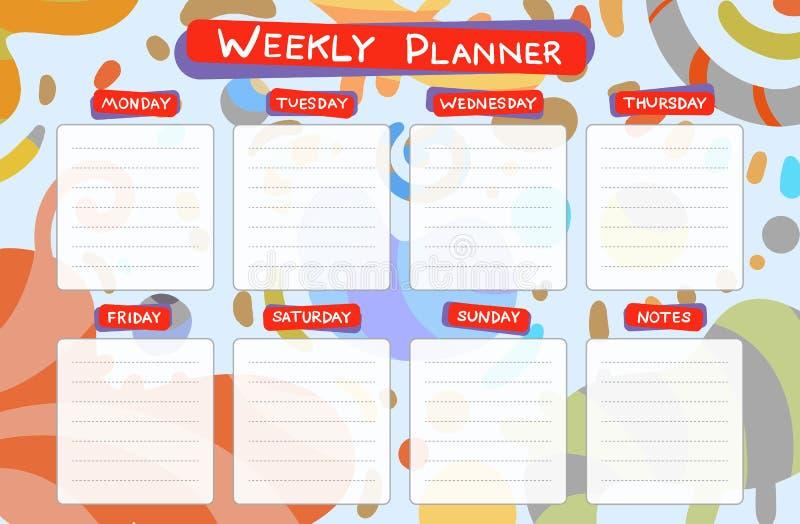 Planificateur de calendrier hebdomadaire Tâches de planification illustration stock