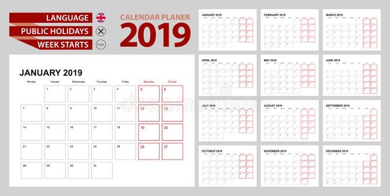 Planificateur 2019 de calendrier mural en anglais, débuts de semaine dans lundi illustration libre de droits