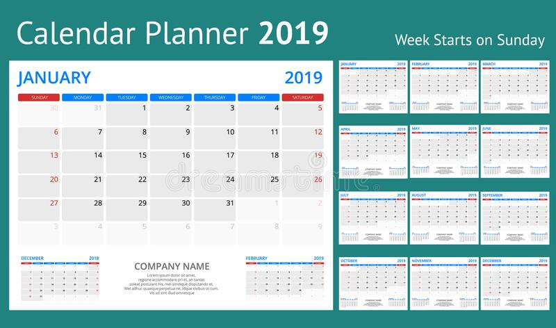 Planificateur de calendrier pendant 2019 années Calibre d'impression de conception de papeterie de vecteur avec l'endroit pour la illustration de vecteur