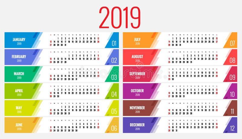 Planificateur de calendrier pendant 2019 années Calibre d'impression de conception de papeterie de vecteur avec l'endroit pour la illustration libre de droits