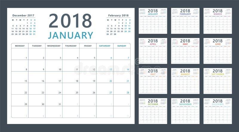 Planificateur de calendrier pour 2018 débuts lundi, conception de calendrier de vecteur 2018 ans illustration stock
