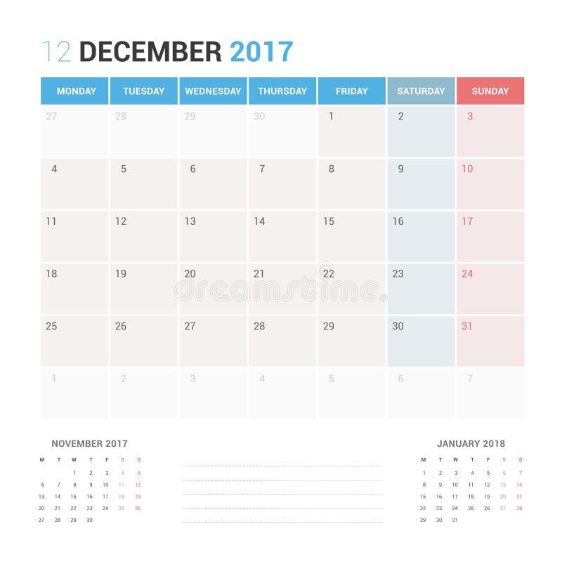 Planificateur de calendrier pour le calibre de conception de vecteur de décembre 2017 stationnaire illustration stock
