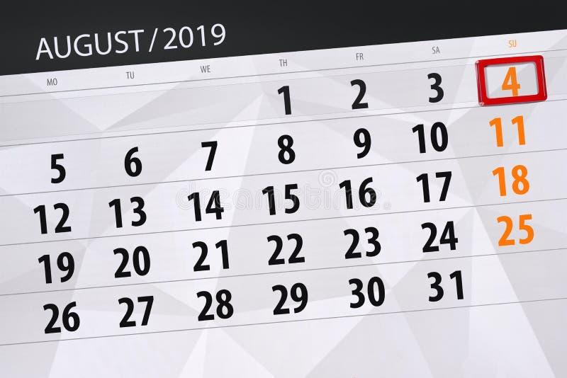 Planificateur de calendrier pour le mois, jour de date-butoir de la semaine 2019 auguste, 4, dimanche photo libre de droits