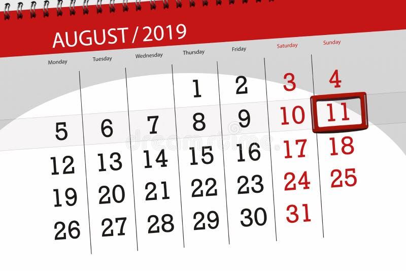 Planificateur de calendrier pour le mois, jour de date-butoir de la semaine 2019 auguste, 11, dimanche image libre de droits