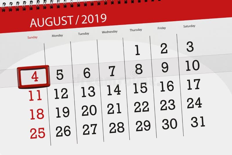 Planificateur de calendrier pour le mois, jour de date-butoir de la semaine 2019 auguste, 4, dimanche photos libres de droits
