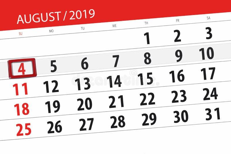 Planificateur de calendrier pour le mois, jour de date-butoir de la semaine 2019 auguste, 4, dimanche photos stock