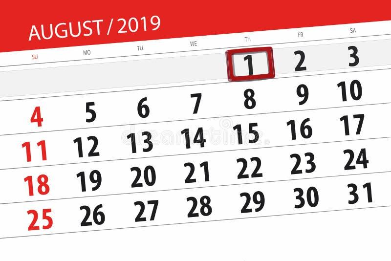 Planificateur de calendrier pour le mois, jour de date-butoir de la semaine 2019 auguste, 1, jeudi images libres de droits