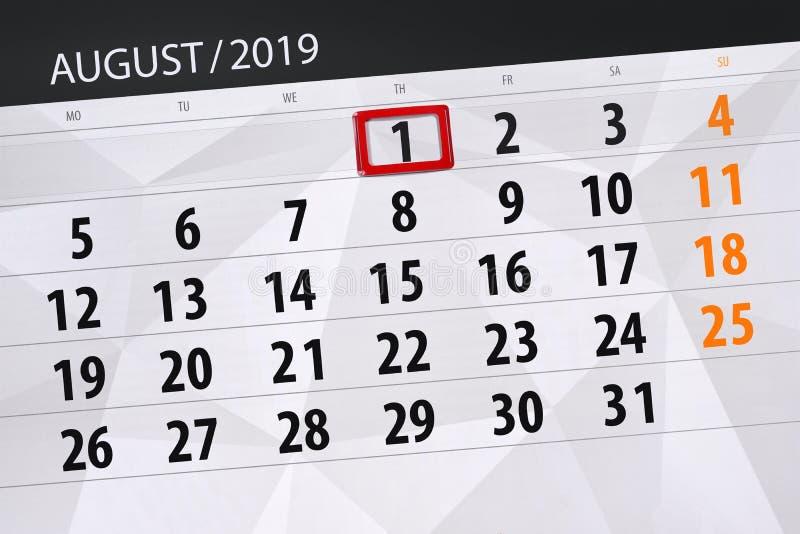 Planificateur de calendrier pour le mois, jour de date-butoir de la semaine 2019 auguste, 1, jeudi photos stock