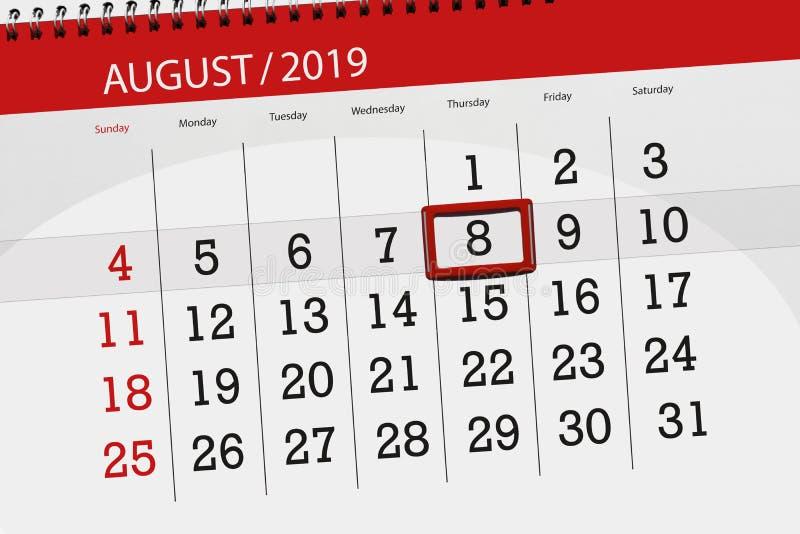 Planificateur de calendrier pour le mois, jour de date-butoir de la semaine 2019 auguste, 8, jeudi images stock
