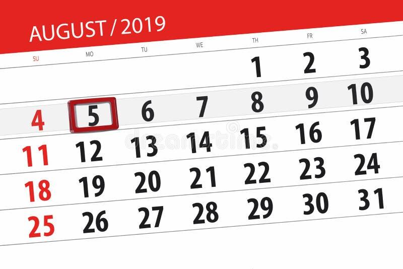 Planificateur de calendrier pour le mois, jour de date-butoir de la semaine 2019 auguste, 5, lundi photographie stock libre de droits