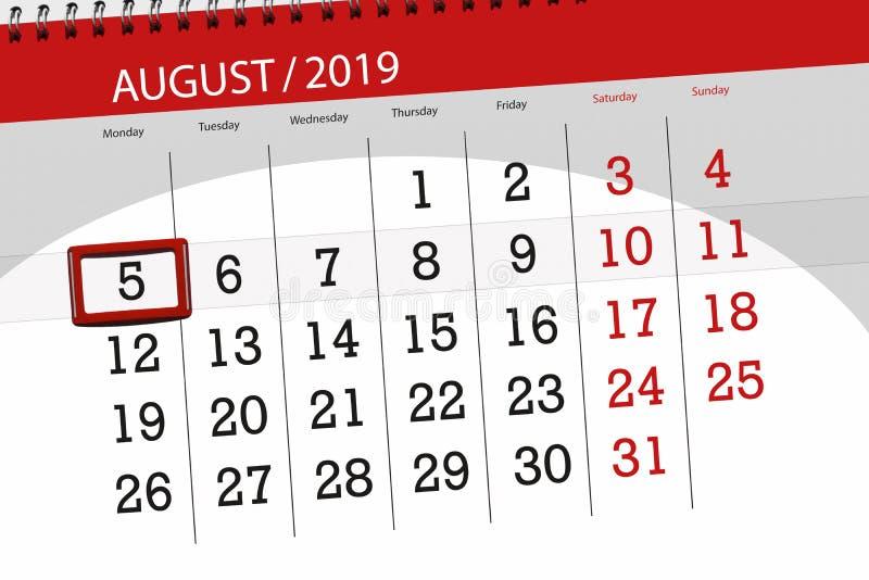 Planificateur de calendrier pour le mois, jour de date-butoir de la semaine 2019 auguste, 5, lundi photo libre de droits