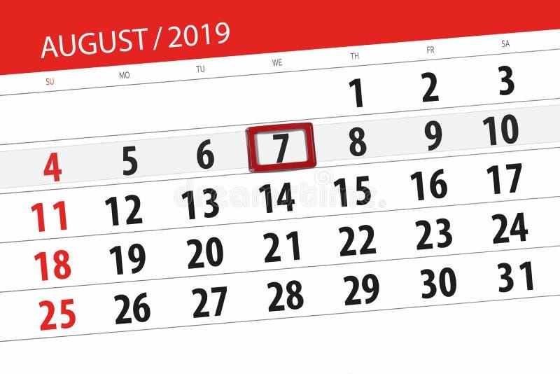 Planificateur de calendrier pour le mois, jour de date-butoir de la semaine 2019 auguste, 7, mercredi photographie stock libre de droits